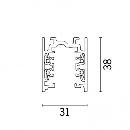 iGuzzini 6773.012 Rail Electrified Aluminum 3 meters 31x38