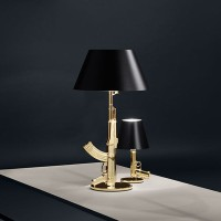Flos Guns Table Gun Lamp Shiny Gold F2954000 by Philippe Strack 2005