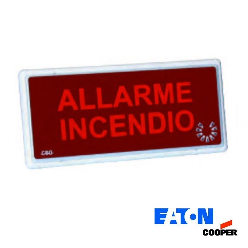Cooper 5955 LED Indicatore Ottico Acustico Emergenza Anti Incendio IP54