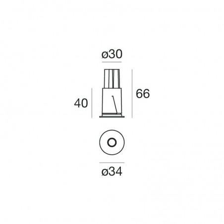 iLed Quantum 1 Fixed LED 2W 3000K 45° Recessed Ceiling Downlight IP44 White Indoor Outdoor