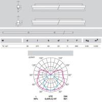 Metalmek T5 1x21W Regletta Plafone per Tubolare Fluorescente Bianco