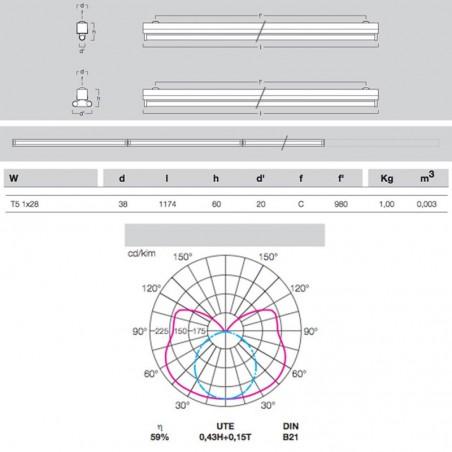 Metalmek T5 1x28W Regletta Plafone per Tubolare Fluorescente Bianco