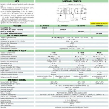 Cabur Alimentatore Switching 1-phase 120-230 Vac 16A 12-15Vdc 240W CSF240B