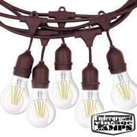 Brown String Light bulbs included 10 Lamp holder E27 12.5 meter IP65 Outdoor Extendable waterproof