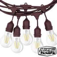 Catena Luminosa con lampadine Cordoniera Marrone 10 Portalampada E27 12,5 metri IP65 Uso Esterno Prolungabile impermeabile