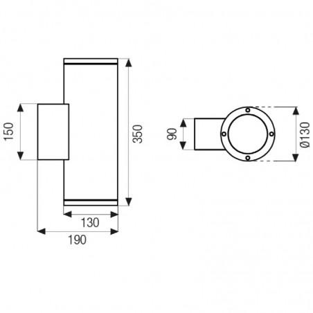 Boluce Blitz 9062.352 Applique Lampada Parete Bidirezionale Esterno IP65 Bianco