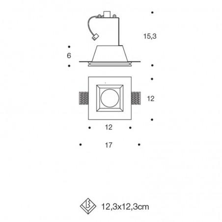 PAN INC1501 LED Faretto Incasso in Gesso Verniciabile GU10