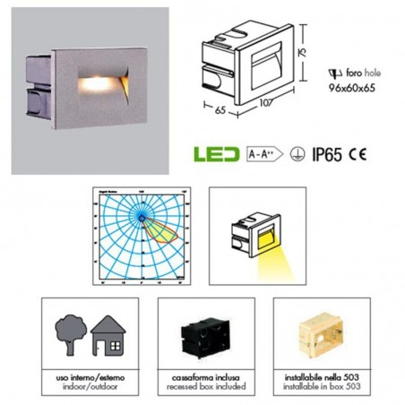 PAN INC59000 Fast LED 3W 45° 3000K 90lm Recessed Marker IP65