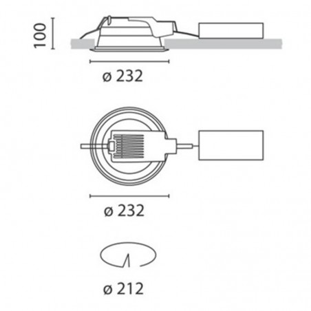 iGuzzini 3304.039 Recessed Spotlight Sistema Easy Comfort 2x26W Fluorescent