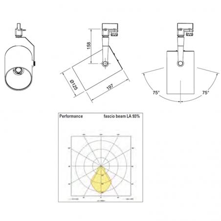 Ideallux Beba LED 28W 3000K 3000lm Proiettore da Binario Grigio