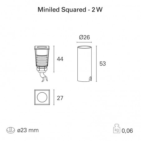 PAN MiniLED Squared 2W 500mA 3000K Outdoor Recessed Spotlight IP67 Walkable