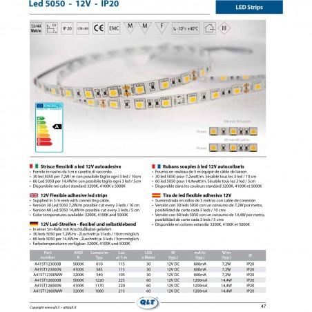 QLT Strip LED 14,4W 12V 3200K IP20 Warm Light - 1 Meter