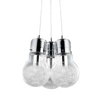 Ideal Lux Luce Max SP3 Suspension Lamp with Three Glass Lights With Internal Decoration