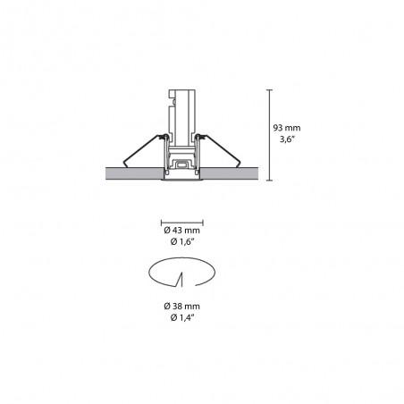 iGuzzini Laser Fisso Comfort Faretto LED Rotondo da Incasso Ottica 40° con Cornice