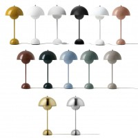 & Tradition Flowerpot VP3 Metal Table Lamp with Diffused Light for Indoor By Verner Panton