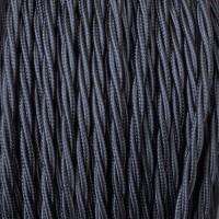 Cavo Elettrico 2X o 3X Treccia in Tessuto Colore Nero
