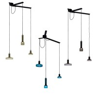 Artemide Stablight 3 Lights Adjustable Suspension Lamp LED Dimmable in Blown Glass