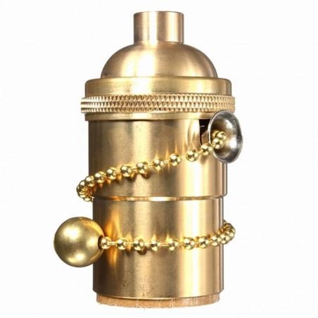 Portalampada e27 vintage oro con catena zipper catenella