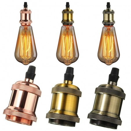 Vintage E27 Lampholder in Brass Copper