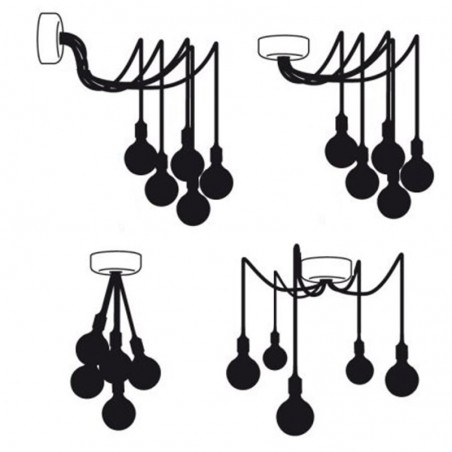 Rosetta wall ceiling with 7 output black