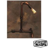 Vintage Table Lamp Antique Tube Color Copper E27 H.50 cm