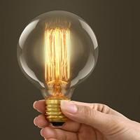 Lampadina vintage g95 60w globo e27 filamento carbonio
