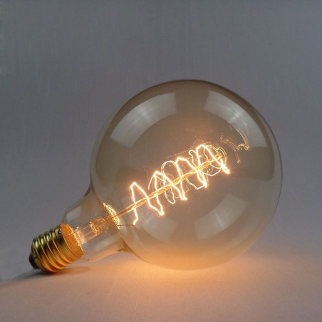 Lampadina vintage g125 40w globo spirale e27 filamento carbonio
