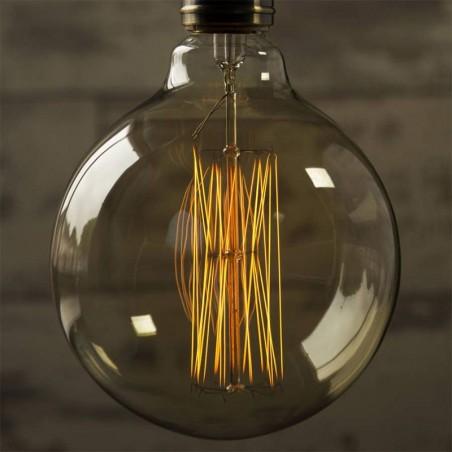 Lampadina vintage g125 40w globo e27 filamento carbonio