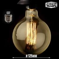 Lampadina vintage g125 60w globo e27 filamento carbonio